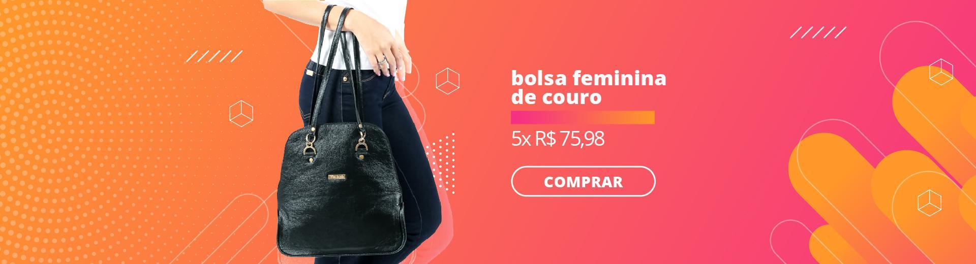 BOLSA FEMININA DE COURO PRETA