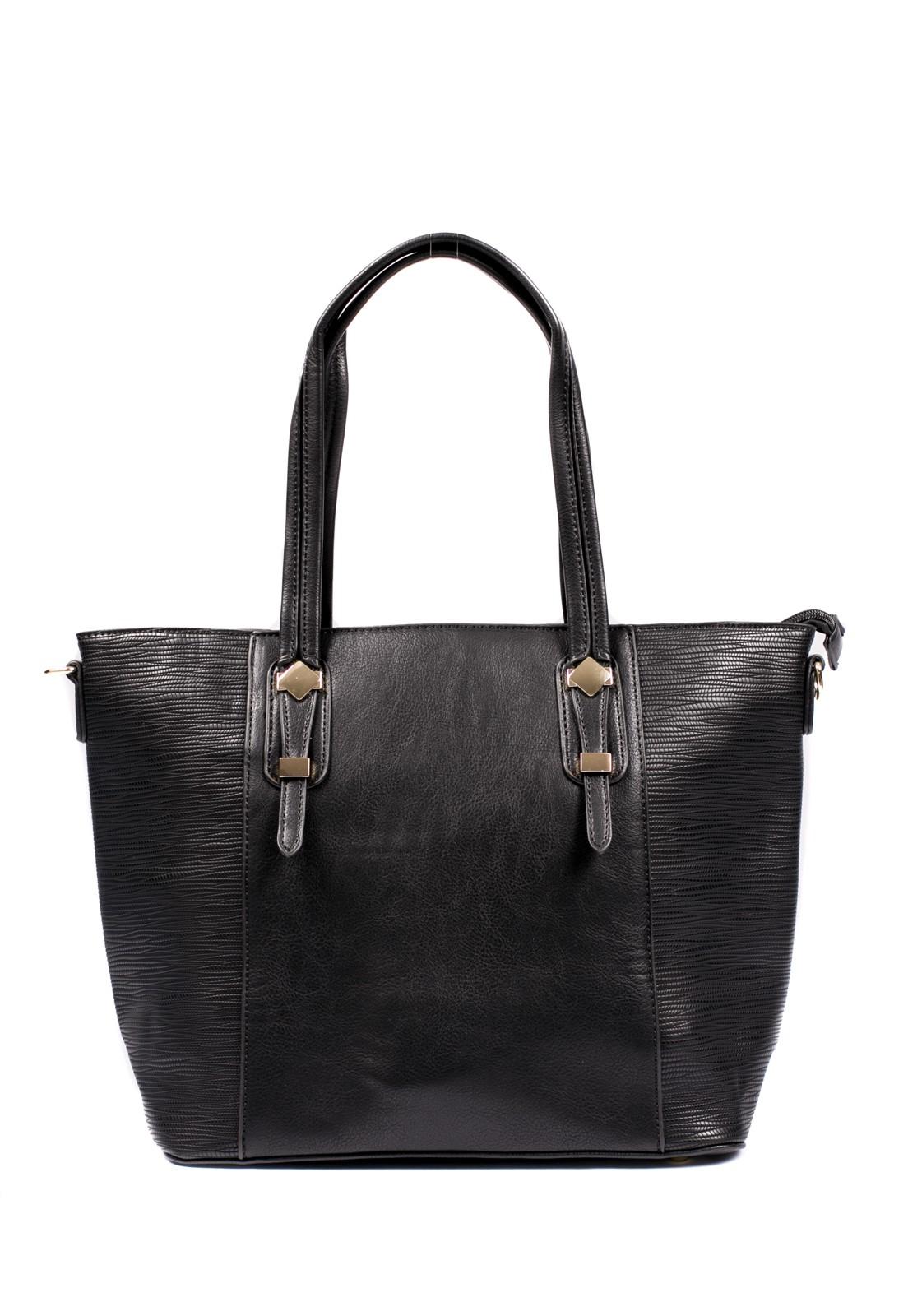 Bolsa Shopping Feminina Couro Sintético Texturizado Alça Transversal Preta