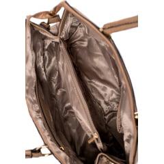 Bolsa Feminina Dalber Couro Sintético Texturizado Em Relevo Bege Nude Com Dourado