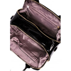 Bolsa Feminina Dalber Croco Com Mini Bolsa Transversal Couro Sintético Envernizado Preta