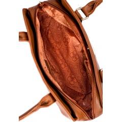 Bolsa Feminina Chenson Básica Espaçosa Detalhes Dourado Caramelo - UN